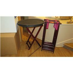 Qty 7 Server Trays and 4 Folding Food Server Stands