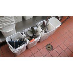 Misc. Cooking Utensils in Buckets (Ladles, Tongs, etc.)