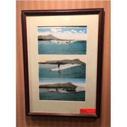 "Framed Print - ""Surf Riding at Waikiki, Honolulu"" 16.5"" x 9"""