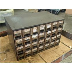 """28 Drawer Tool Organizer with Contents, Overall: 17"""" x 11"""" x 10.5"""""""