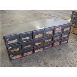 """18 Drawer Tool Organizer with Contents, Overall: 34"""" x 12"""" x 13"""""""
