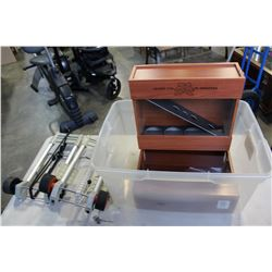 TOTE OF DISPLAY BOXES AND LUGGAGE CARTS
