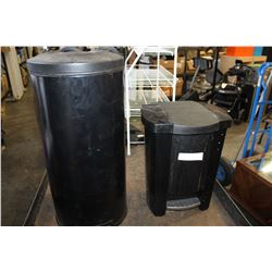 TWO BLACK TRASH CANS