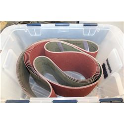 TOTE OF NEW SANDING BELTS