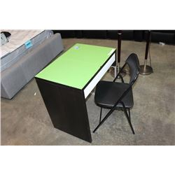 GREEN TOP ESPRESSO DESK AND FOLDING CHAIR