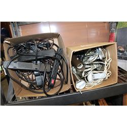 LOT OF POWER BARS AND EXTENSION CORDS AND CLIP LGIHTS