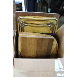 BOX OF WOODEN CUTTIONG BOARDS