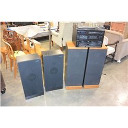PANASONIC STEREO WITH RECORD PLAYER AND FLOOR SPEAKERS AND KLA ACOUSTICS FLOOR SPEAKERS