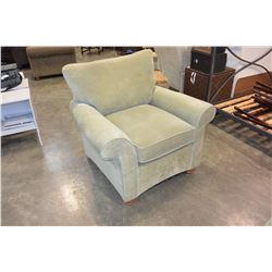 GREEN ROLLED ARM CHAIR