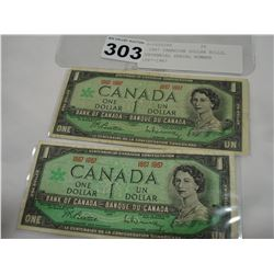 2 1967 CANADIAN DOLLAR BILLS, CENTENNIAL SERIAL NUMBER 1867-1967