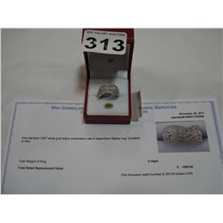 10KT WHITE GOLD FILIGREE RING WITH APPRAISEL $1800.00