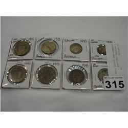 8 ASSORTED 1941-1948 INTERNATIONAL SILVER COINS