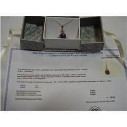 STERLING SILVER GENUINE AMETHYST AND DIAMOND PENDANT AND CHAIN WITH APPRAISEL $700.00