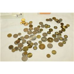 SMALL TOTE OF VARIOUS WORLD COINS