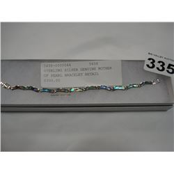 STERLING SILVER GENUINE MOTHER OF PEARL BRACELET RETAIL $300.00