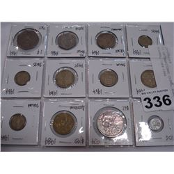 12 INTERNATIONAL COINS, SOME SILVER, 1964-1986