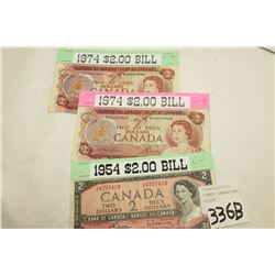 THREE CANADIAN TWO DOLLAR BILLS