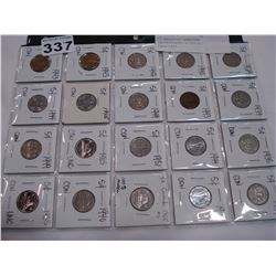 20 ASSORTED CANADIAN UNCIRCULATED NICKELS, 1929-1985
