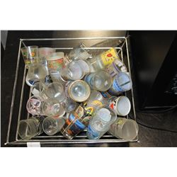 METAL TRAY OF COLLECTIBLE SHOT GLASSES