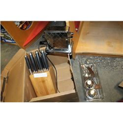GERMAN CUTLERY AND BLOCK AND ANTIQUE TOASTER AND DANISH KNIFE CP HOTEL CUTLERY