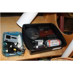 TOTE OF BINOCULARS TOOLKIT AND TRIPOD ELECTRONICS