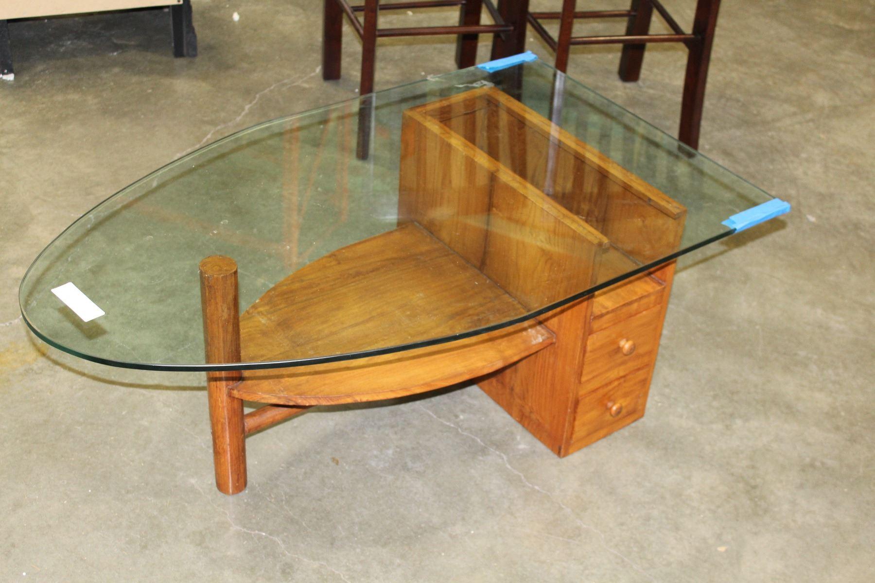 Teak Base Glasstop Boat Shaped Coffee Table Chip On Corner Glass