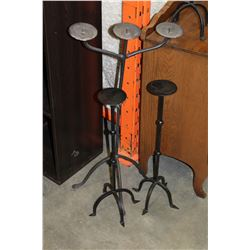 THREE IRON CANDLE STANDS