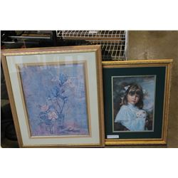 SIGNED LEP GIRL WITH CAT AND FLORAL PRINT