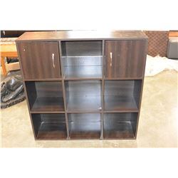 ESPRESSO FINISH CUBICLE SHELF WITH TWO DOORS