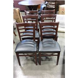 SIX LEATHER SEAT DINING CHAIRS