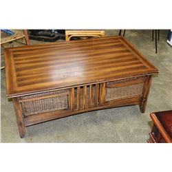 LARGE WICKER DRAWER COFFEE TABLE