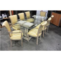 GLASSTOP PEDESTLE DINING TABLE AND 8 CHAIRS