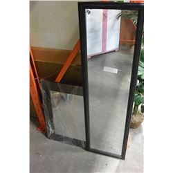 TWO BLACK FRAMED MIRRORS