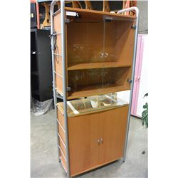 IKEA MAPLE AND GLASS CABINET