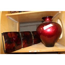 RED DECORATOR VASE AND LACQUER PANEL