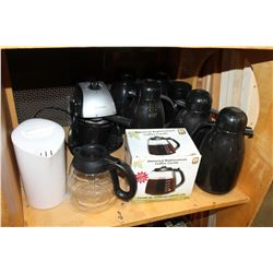 WESTINGHOUSE COFFEE MAKER AND LOT OF COFFEE CARAFFES