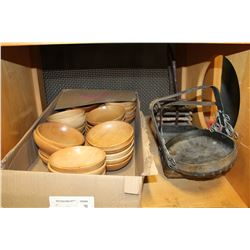 BOX OF WOODEN BOWLS