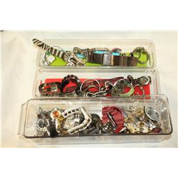 THREE TRAYS OF WATCHES AND PINS