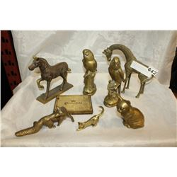 LOT OF COLLECTIBLE BRASS ANIMAL FIGURES AND CIGARETTE BOX