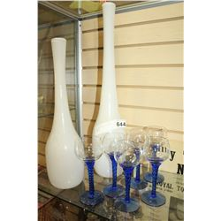 TWO LARGE GLASS VASES AND STEMWARE