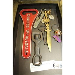 METAL BOTTLE OPENERS AND AND LETTER OPENER