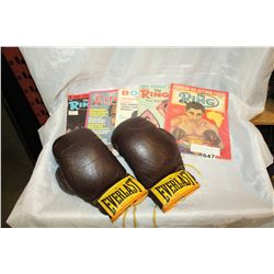 VINTAGE 1966 BOXING POSTER AND FIVE MAGAZINES AND BOXING GLOVES