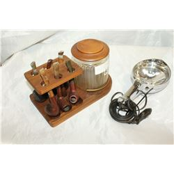 HUMIDOR AND PIPES AND ANTIQUE SEARCH LIGHT