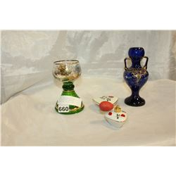 PAINTED VASE AND MUSICAL GLASS AND ROYAL BAVARIA PERFUME AND LIDDED DISH