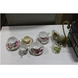 ART GLASS SWAN DISHES AND CHINA CUPS AND SAUCERS