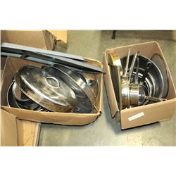 TWO BOXES OF STAINLESS AND METAL KITCHEN WARES