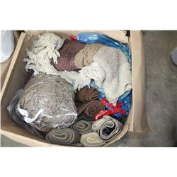 LARGE BOX OF TOWELS CARPETS AND BLANKET