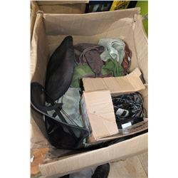 LARGE BOX OF TOWELS ETC