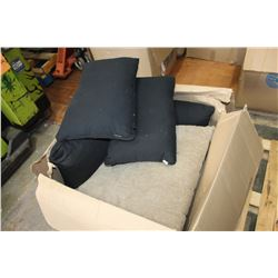 LARGE BOX OF BLACK AND BROWN PILLOWS