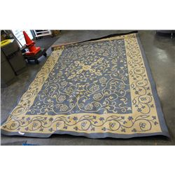 LARGE BLUE AND WHITE OUTDOOR CARPET